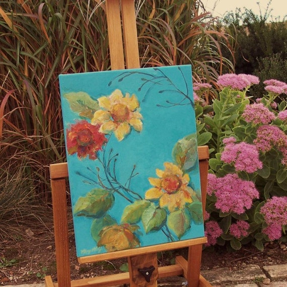 Original Floral Painting-  Sunflower Art- Acrylic on Canvas- 12x16 Wall Art