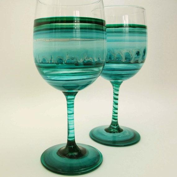 Sea Glass- Pair Hand-Painted Wine Glasses- Wedding Decor