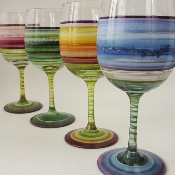 Colors of the Seasons- Four Painted Wine Glasses- Wedding Decor