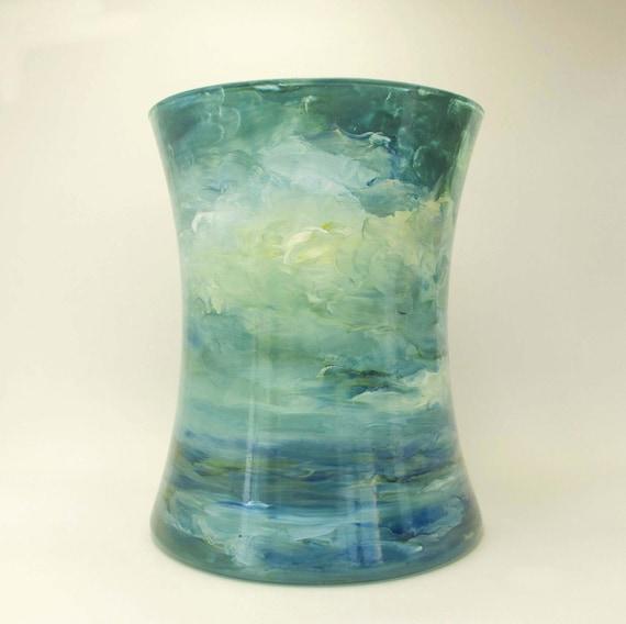 Sunlit Clouds- Impressionist Landscape Handpainted Art Glass Vase