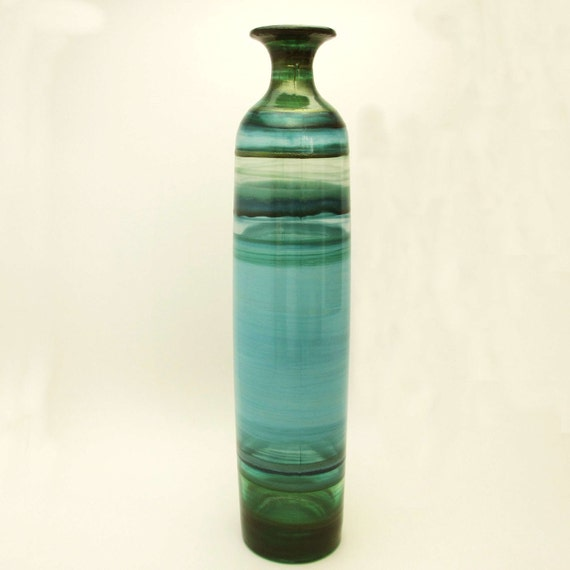 Sea Glass- Hand Painted Glass Bud Vase- Ocean Colors- Wedding Decor