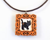 Halloween Cat Pendant and Necklace