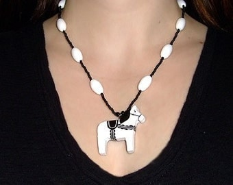White and Black Dala Horse Pendant and Necklace