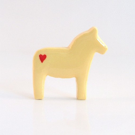 Yellow Dala Horse Figurine with Hearts