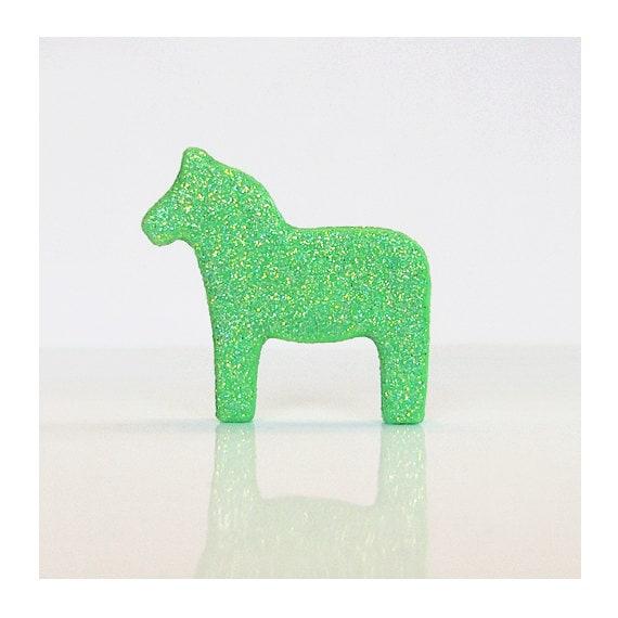 Green Glitter Dala Horse Figurine