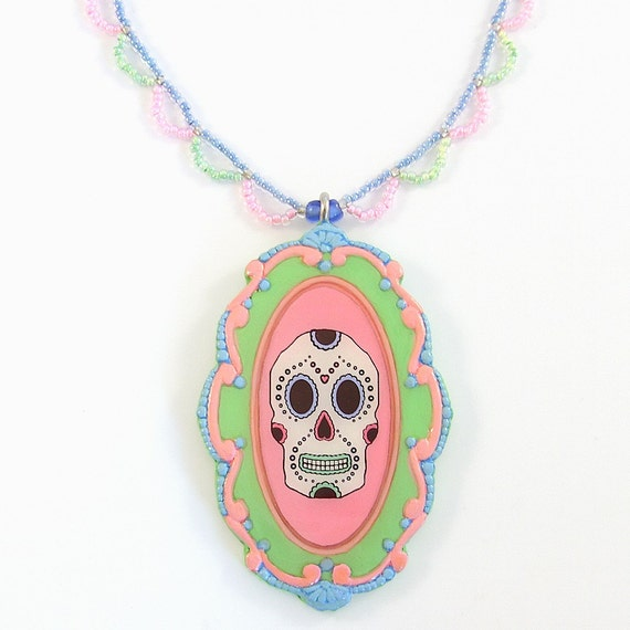 Day of the Dead Sugar Skull Pendant and Lace Beadwork Necklace