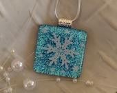 Free Necklace Snowflake Dichroic Glass Pendant