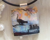 Free Necklace Cat and Kitten Image Dichroic Pendant