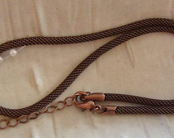 16 or 18 Inch Copper Metal Mesh Choker with Extender
