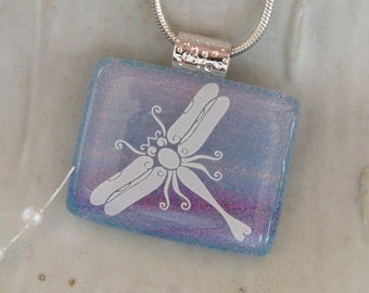 Dragonfly Dichroic Glass Pendant, Glass Necklace, Fused Glass, Necklace Included