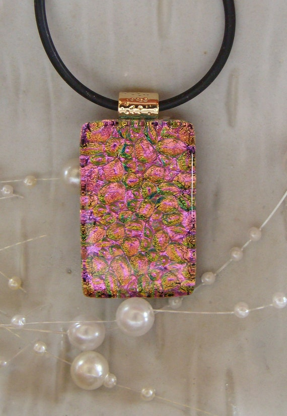 Pink Dichroic Glass Pendant, Glass Jewelry, Pink, Gold, Necklace Included
