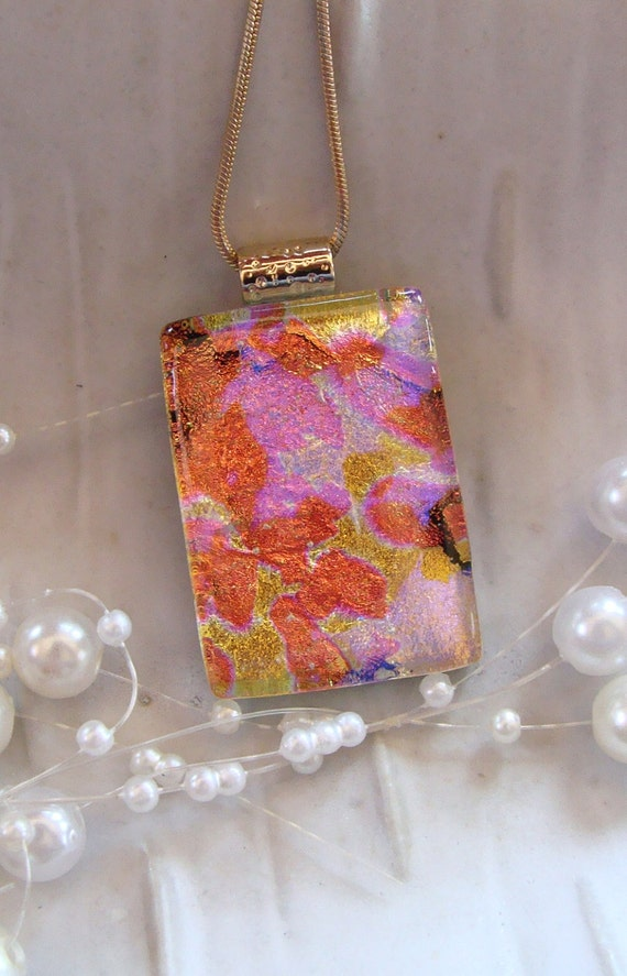 Dichroic Fused Glass Pendant, Necklace, Glass Jewelry, Pink, Orange, Gold, Necklace Included, One of a Kind