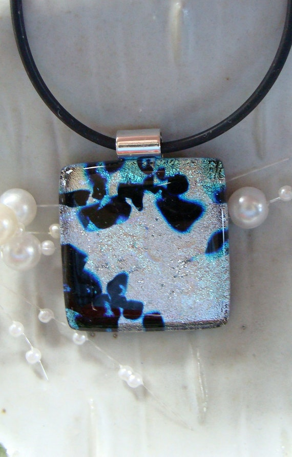 Fused Dichroic Glass Pendant, Fused Jewelry, Necklace Included