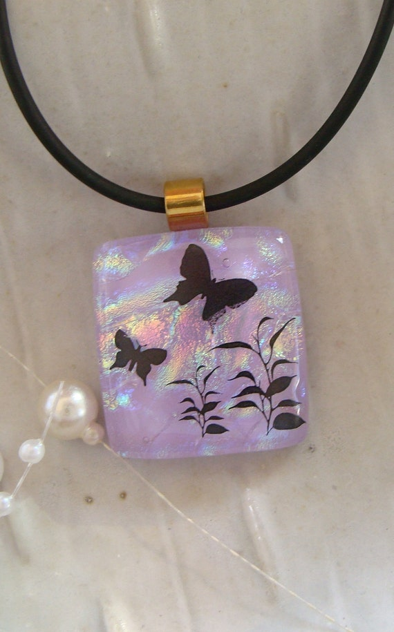 Free Necklace Butterfly Dichroic Pendant