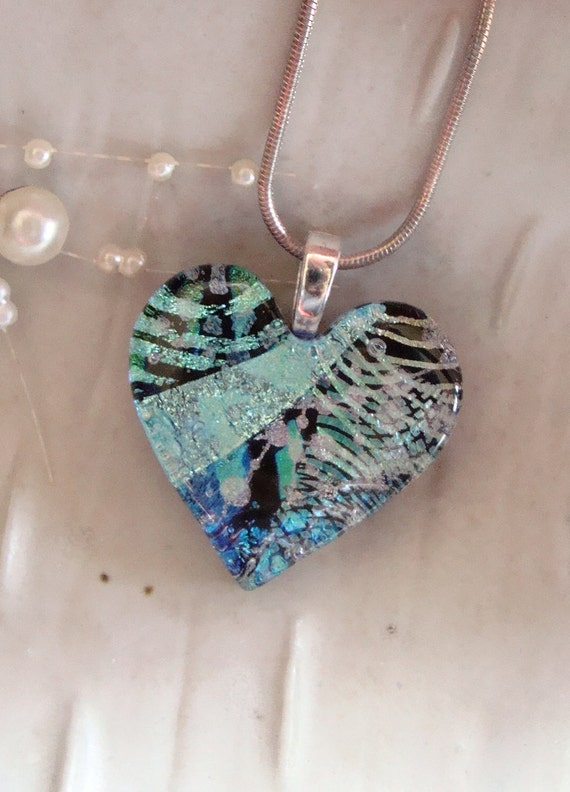 Fused Dichroic Heart Pendant, Glass Jewelry, Aqua, Black, Silver, Necklace Included, One of a Kind