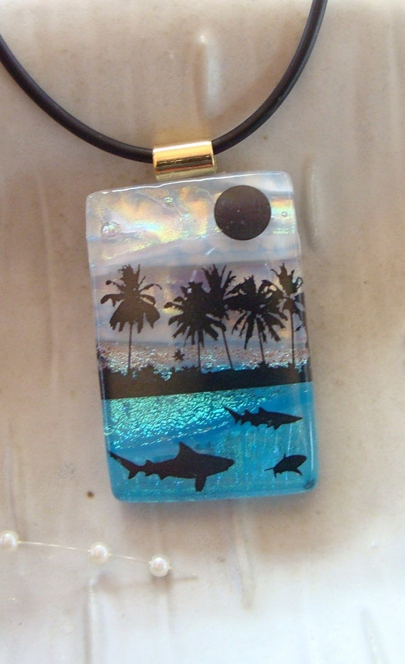 Dichroic Glass Pendant, Fused Glass Jewelry, Necklace, Aqua, Blue, Enamel, Beach, Necklace Included, One of a Kind