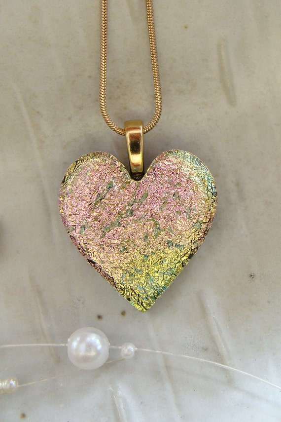 Fused Dichroic Glass Heart Pendant, Glass Jewelry, Necklace Included, Pink, Gold
