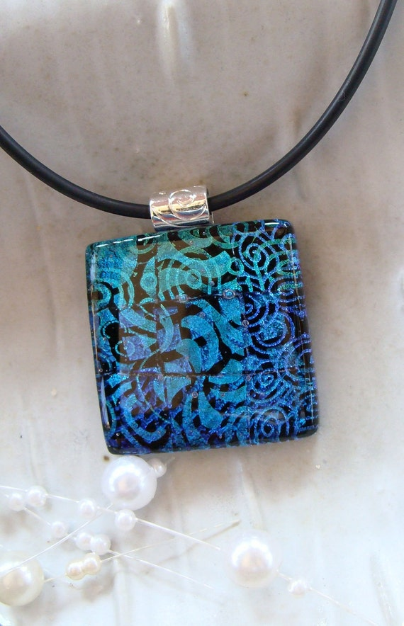 Dichroic Fused Glass Pendant, Necklace, Fused Jewelry, Blue, Black, Aqua, Necklace Included, One of a Kind