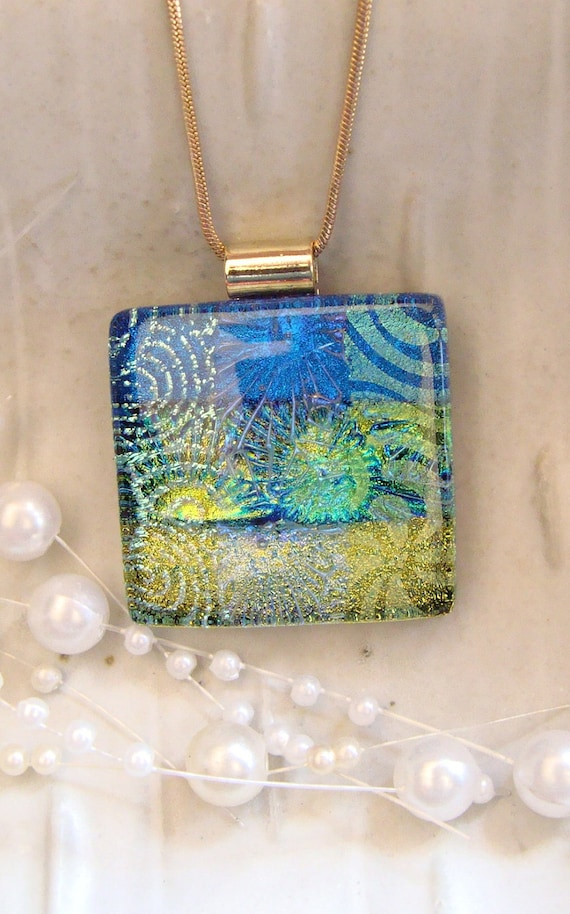 Dichroic Fused Glass Pendant, Blue, Gold, Aqua, Necklace Included, One of a Kind