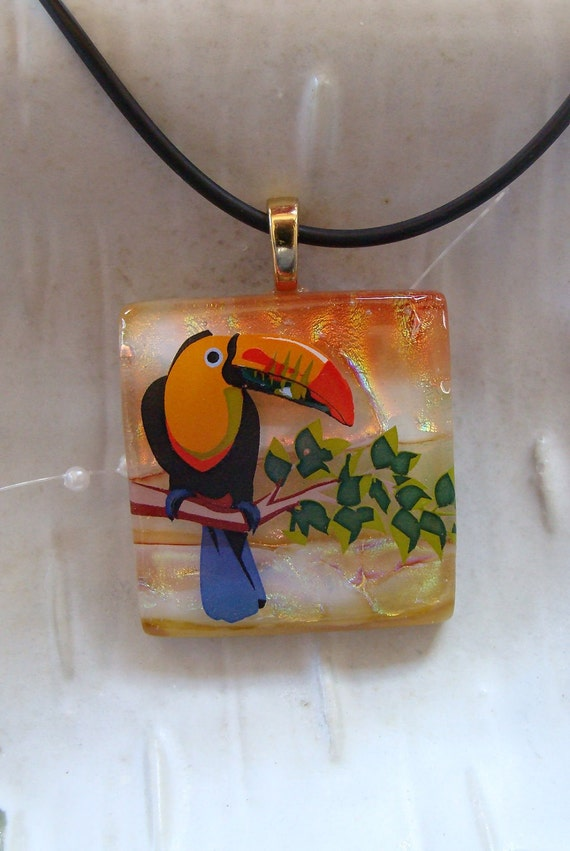 Fused Dichroic Glass Pendant, Glass Jewelry, Exotic Bird, Necklace Included, One of a Kind