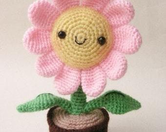 Pink Sun Flower - PDF crochet pattern