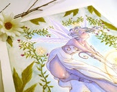 ORIGINAL Watercolor - White June Fairy with Gold - Leaves and Roses - Spring Garden - Stars - 8x10 inches