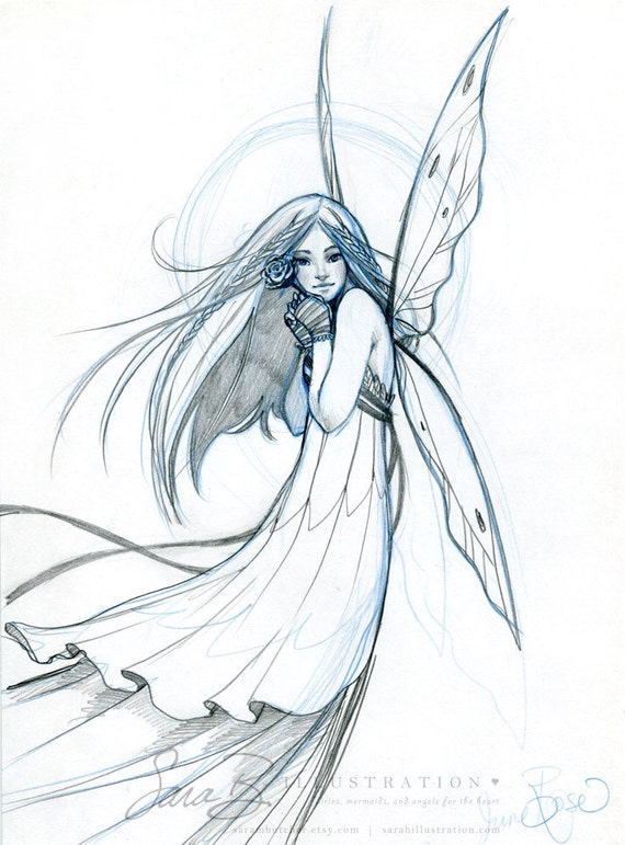 Pencil Drawing Of Fairies Rose flower fairy original pencil sketch by ...