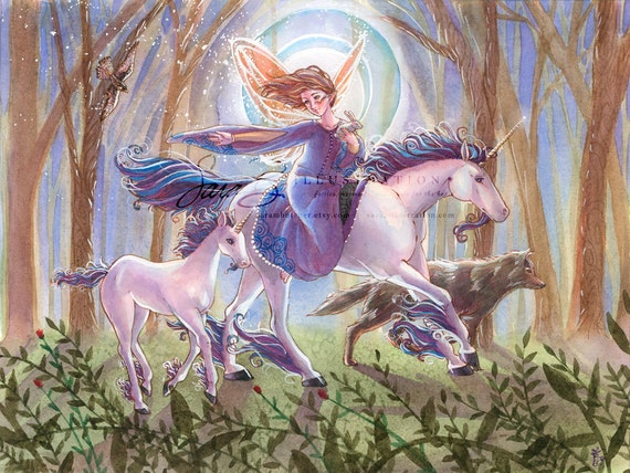 Fairy Art Print Forest with Unicorns, Wolves, Birds and Moon