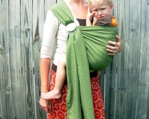 New Stone Baby Sling - Olive Linen - Ring Sling for Baby or Toddler -