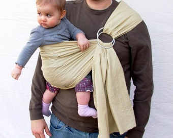 The Original Rustic Baby Sling in TEA-  Ring Sling for infant or toddler -