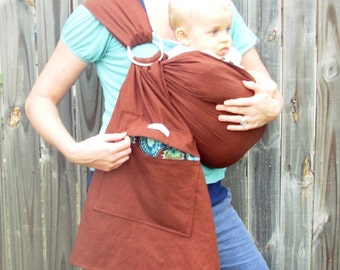 Choose your color -  Linen Blend CUSTOM Baby Sling with Zippered Pocket