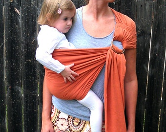 The ORiGinal Gauze TWO LAYER Baby Sling with stretch - Rust-  Also in Coral, Purple, Teal,  Gray, and Light Olive, all for Baby or Toddler