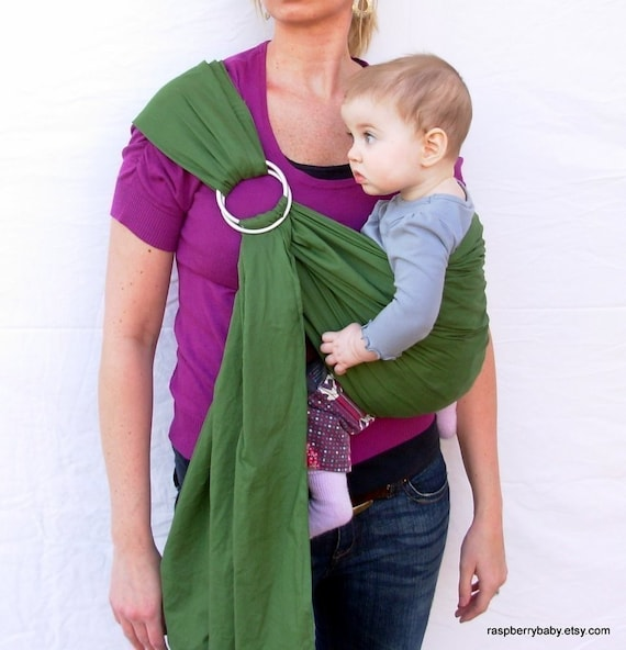 The Original Rustic Baby Sling in Olive Green- Ring Sling for infant or toddler