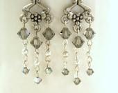 Silver and Black Diamond Swarovski Crystal Dangle Chandelier Earrings