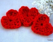 3 Red Crochet Heart Appliques
