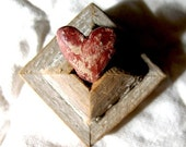 This Is How You Grow A Heart  - Heart Block No.1 -  Miniature Tabletop Mixed Media Assemblage/  Vintage Wood Collage