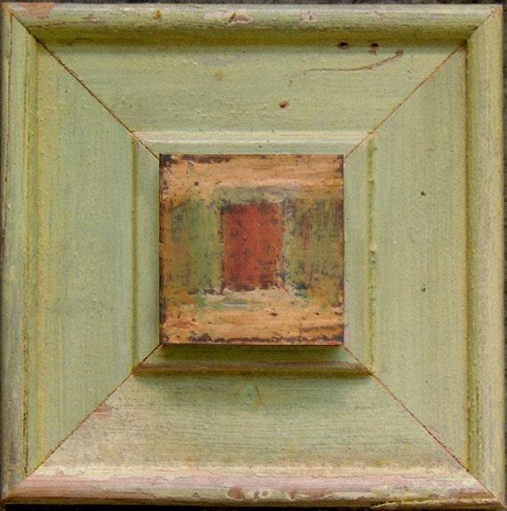Original  2 x 2 Bees Wax / Encaustic Mixed Media Painting in Vintage Wood Frame  -  No. 9
