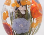 One Lampwork FLORAL FOCAL Bead Oranges Periwinkle White -831