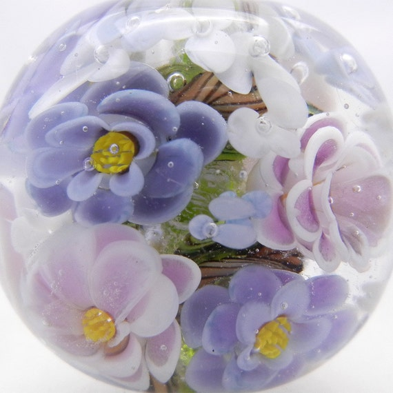 Bousky ROSE FOCAL Lampwork  Bead Periwinkle Lavender Violet- 832