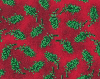 Fabric With Christmas Holly Leafs All Over, Sold By The Yard.