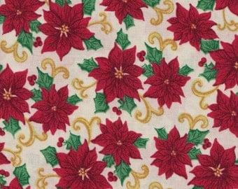 Christmas Poinsettias  Fabric 1 Yard (Last Chance)