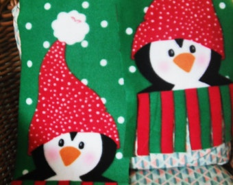 Penguin Double Sided Scarf Green Background, Finish With Your Own Personel Touch. ( Last Chance )
