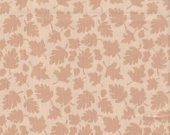 Beige Harvest Leaves All Over Fabric 100% Cotton.