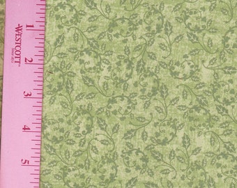 Green Holly Vines All Over Cotton Fabric