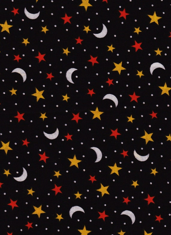 Reserved for cherise moon and stars halloween fabric 2 yard for Moon and stars fabric