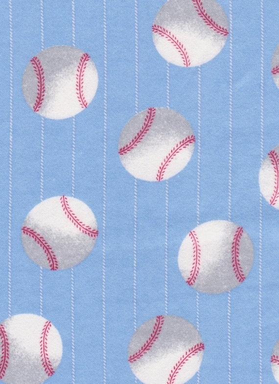 Baseball Flannel Fabric 1 Yard