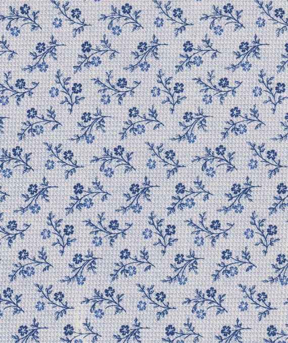 Reserved for Kim, Blue Flower Vines Fabric, Cotton, 2 Yards