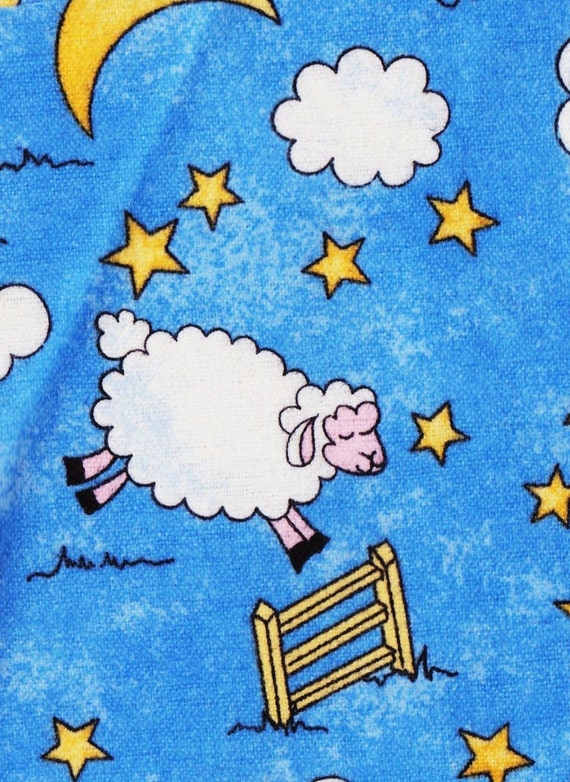 Sheep clouds moon and stars flannel fabric for Moon and stars fabric