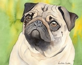 Pug dog art print from watercolor painting by Rachelle Smith plus FREE card