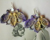 Vintage Lace Earrings sterling silver purple gold violet modern handmade contemporary artisan free shipping